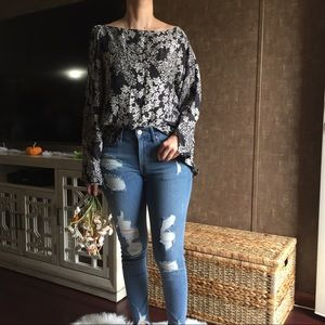Nine West Embroidered Long Sleeve Blouse Sz L